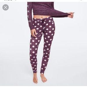 Pink Victoria's secret pajama leggings polka dot